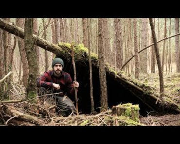 Primitive Survival Shelter Build with Bare Hands – No Tools Needed