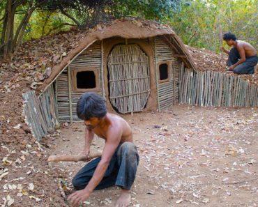 Build House underground Using wood   Primitive technology , Building Skill